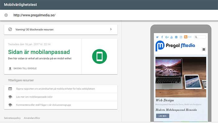 mobilanpassad hemsida testad av google
