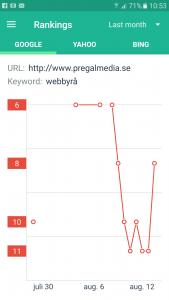 Sökmotoroptimering resultat pregalmedia.se med nyckelord webbyrå